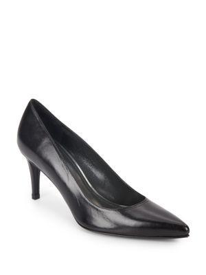 Stuart Weitzman Pinot Leather Mid-heel Pumps In Black