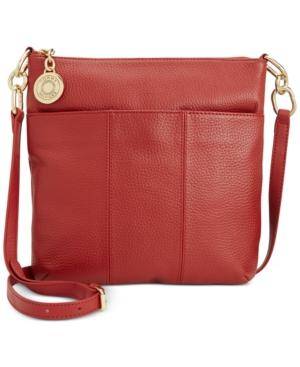 Tommy Hilfiger Th Signature Pebble Leather Crossbody In Red