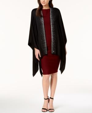 Calvin Klein Studded Satin Evening Cape In Black