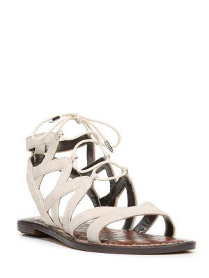 Sam Edelman Gemma Leather Ghillie Lace Sandals In Ivory
