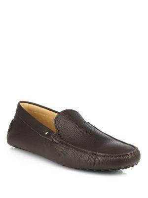 Tod's Borchie Gommini Leather Drivers In Coffee