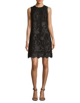 Karl Lagerfeld 3d Floral Sheath Dress In Black