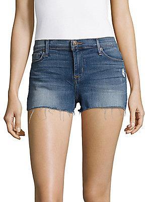 Hudson Raw Edge Hem Shorts In Blue