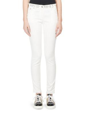Kenzo Logo Skinny Jeans In White