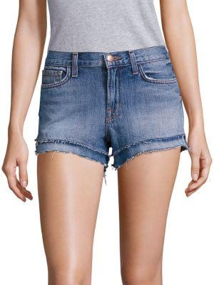 J Brand Sachi Bleached Frayed Denim Shorts In Bleach Wrecked
