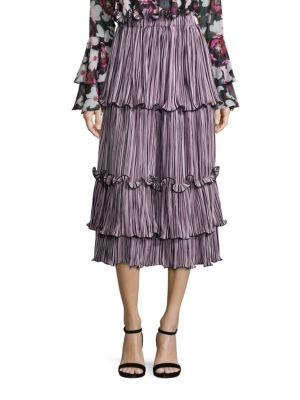 Romance Was Born Queen Of The Night Blossoming Pleated Skirt In Pink