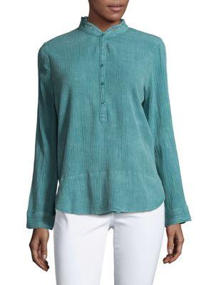 Zadig & Voltaire Crinkle Long Sleeve Shirt In Green