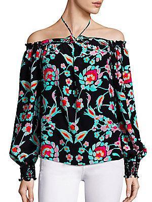 Tanya Taylor Mosaic Floral Mira Off-the-shoulder Top In Black Multi