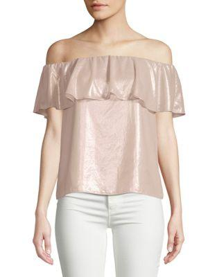Scripted Metallic Off-the-shoulder Blouse In Light Pink