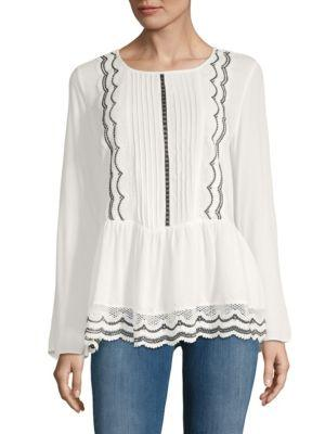 Lumie Peplum Lace Top In White