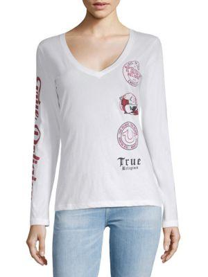 True Religion Graphic Long-sleeve Cotton Tee In White