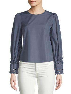 See By ChloÉ Long-sleeve Cotton Top In Blue Shadow