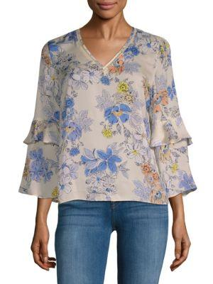 Nanette Lepore Floral Bell-sleeve Blouse In Pink Multi