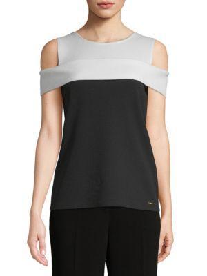 Calvin Klein Colorblock Cold Shoulder Top In Black