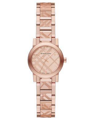 Burberry Rose Goldtone Stainless Steel Check Etched Bracelet Watch/26mm