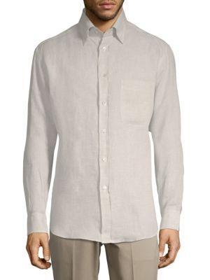 Brioni Classic Linen Button-down Shirt In Grey