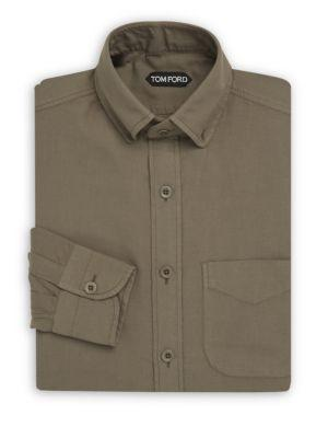 Tom Ford Classic Cotton Dress Shirt In Green