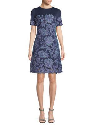 Tadashi Shoji Embroidered Floral Cocktail Dress In Blue Violet