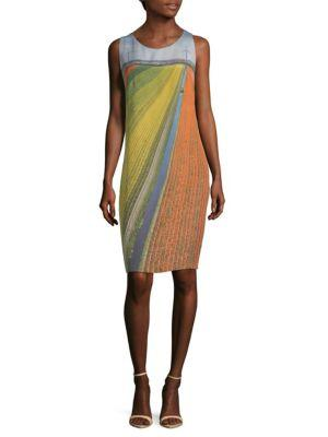 Akris Field-print Silk Shift Dress In Multi