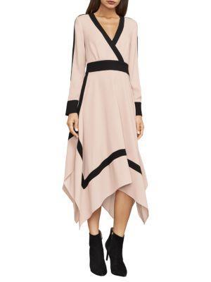 Bcbgmaxazria Bambi Colorblock Wrap Dress In Bare Pink Combo