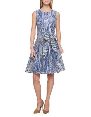 Tommy Hilfiger Paisley-print Striped Sheer Fit & Flare Dress In Sea