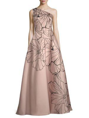 Carmen Marc Valvo Infusion Embellished Floral-print Ball Gown In Blush-black