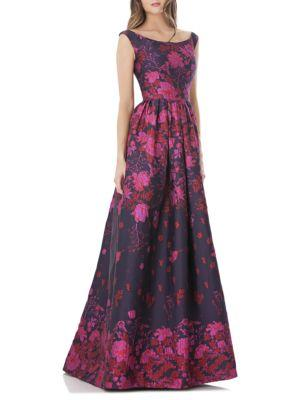 Carmen Marc Valvo Infusion Floral Ball Gown In Navy Fuchsia