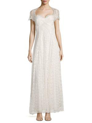Marchesa Notte Embroidered Cut-out Gown In Ivory
