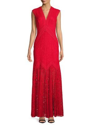Tadashi Shoji Lace V-neck Gown In Red