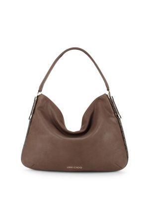 Jimmy Choo Zoe Leather Hobo Bag In Natural