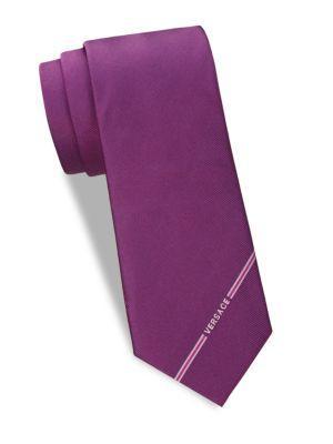 Versace Logo Silk Tie In Light Viola