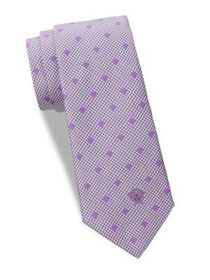 Versace Houndstooth And Polka Dots Silk Tie In Violet