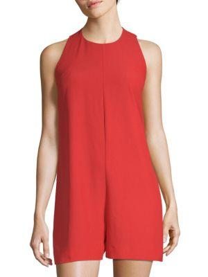 French Connection Sleeveless Romper In Margo Red