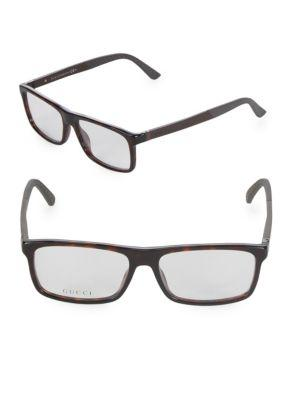Gucci Square 55mm Logo Optical Frames In Havana