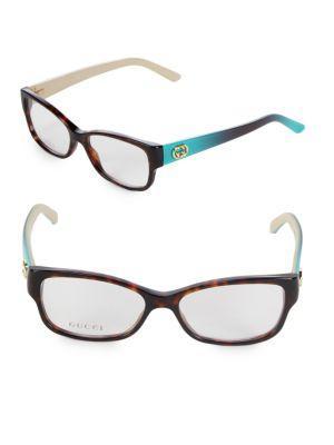 Gucci 52mm Square Optical Glasses In Havana