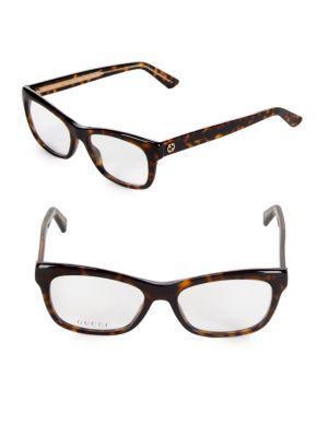 Gucci 50mm Square Optical Glasses In Dark Havana
