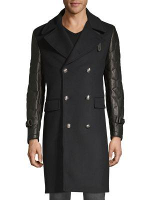 Kent & Curwen Officer Leather-sleeve Coat In Black