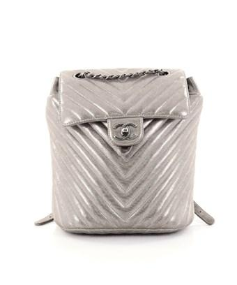 Chanel Pre-owned: Urban Spirit Backpack Iridescent Chevron Calfskin Small In Gray
