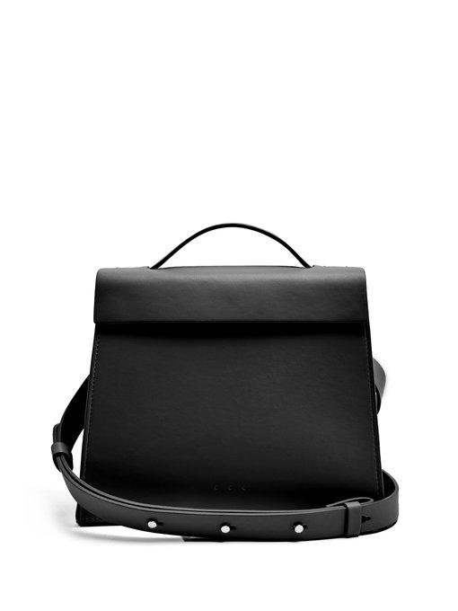 Aesther Ekme Mini Triangle Leather Bag In Black
