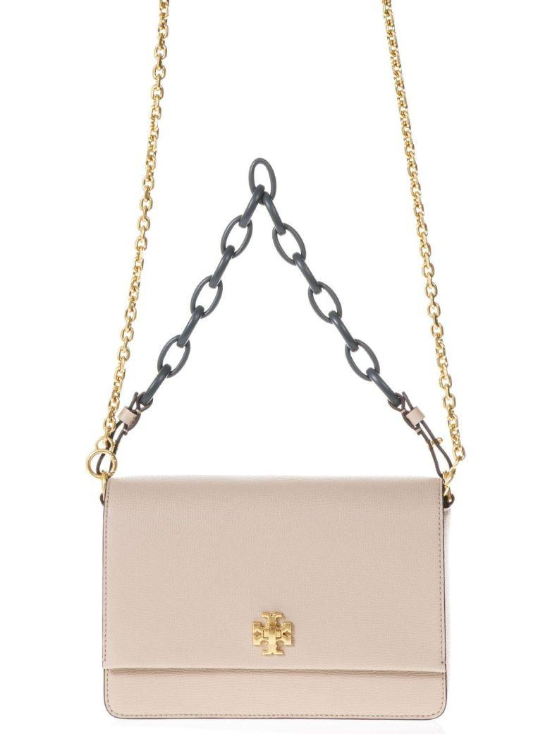 Tory Burch Pink Kira Double Strap Shoulder Bag In Leather In Perfect Sand
