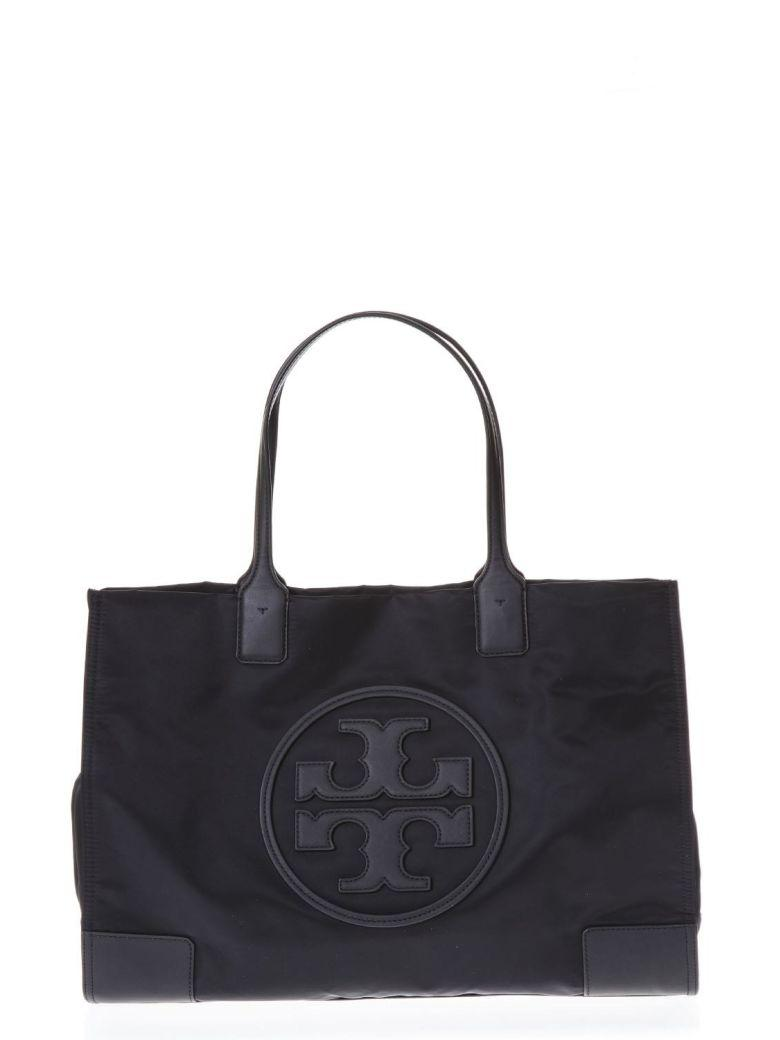 Tory Burch Ella Tote Black Bag In Leather With Logo