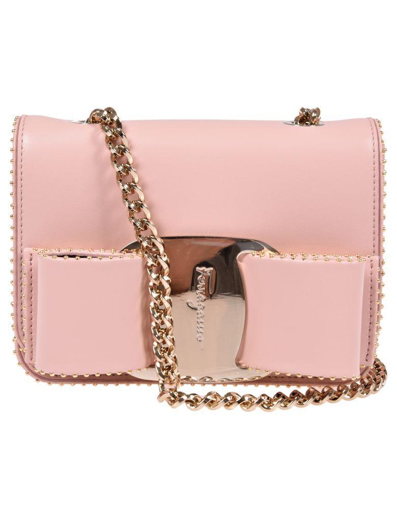 Salvatore Ferragamo Leather Shoulder Bag In Pink & Purple
