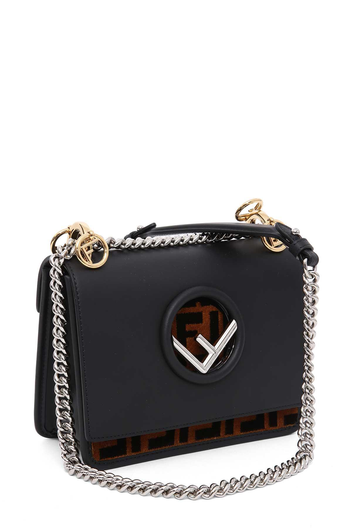 adc153076c9f Fendi Kan I F Small Shoulder Bag With Ff Pattern In Nero