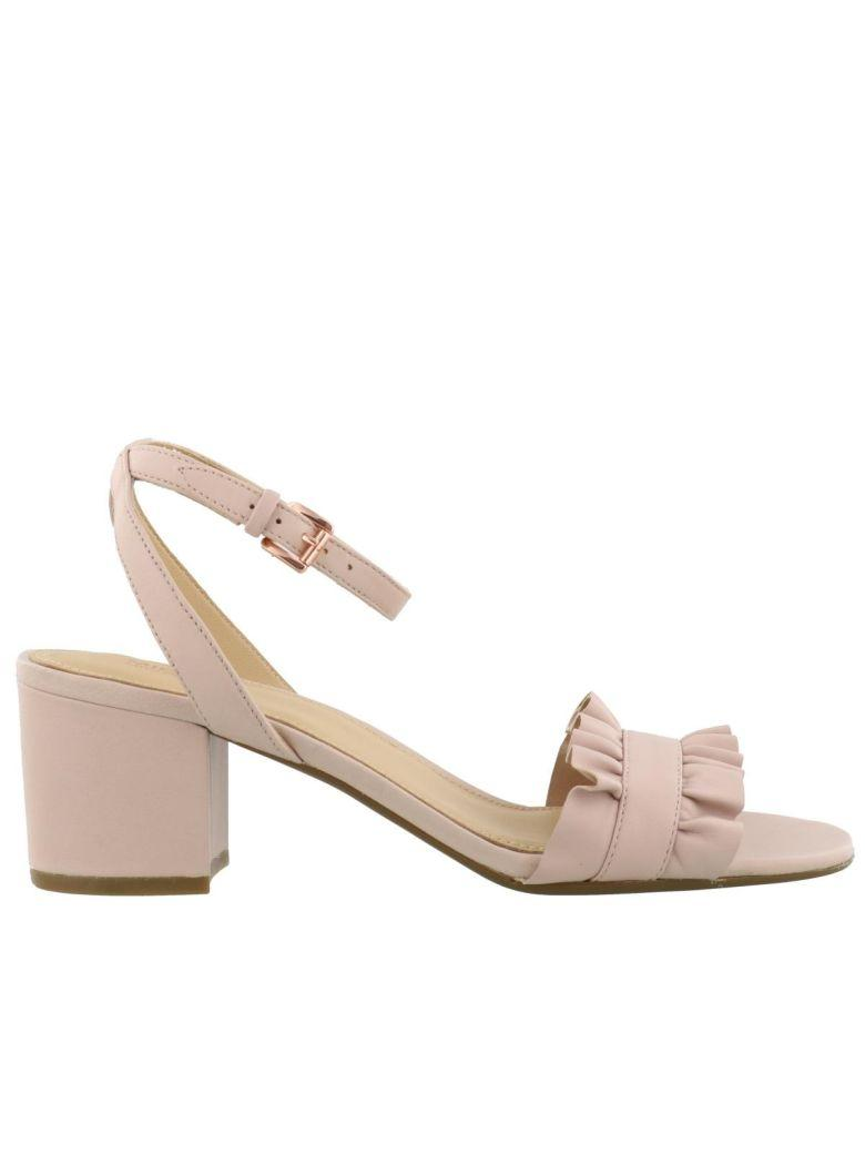 Michael Kors Blush Pink Bella Leather Heeled Sandal In Soft Pink