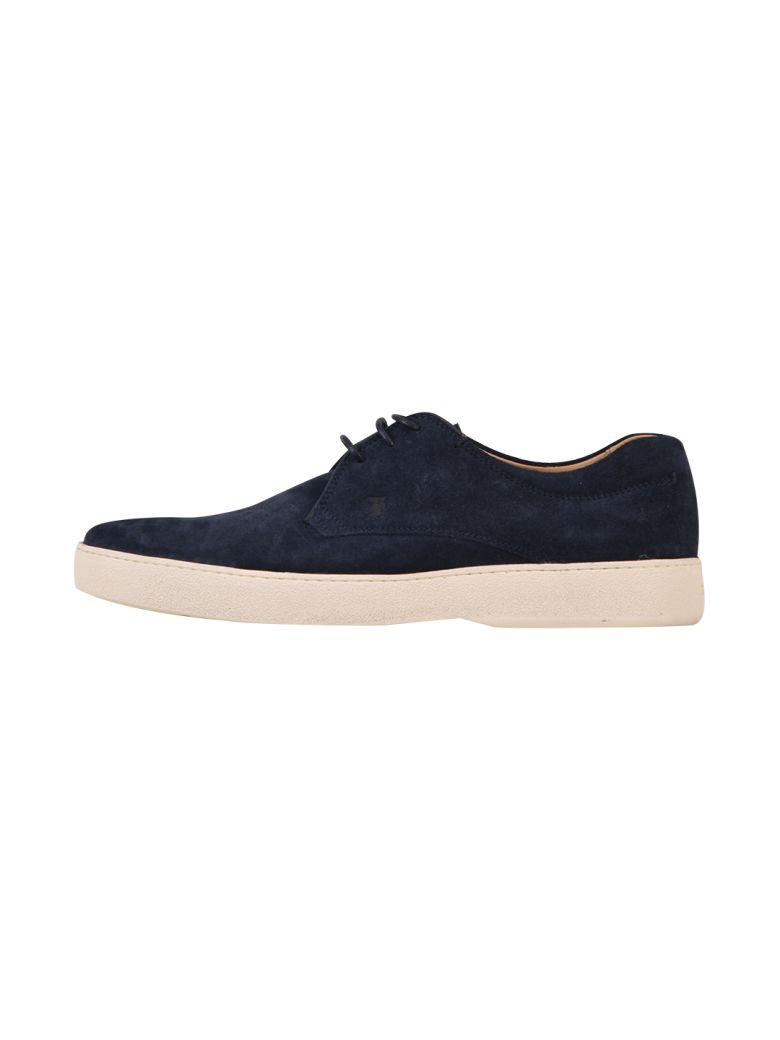 Tod's Lace-up Suede Shoe In Blue