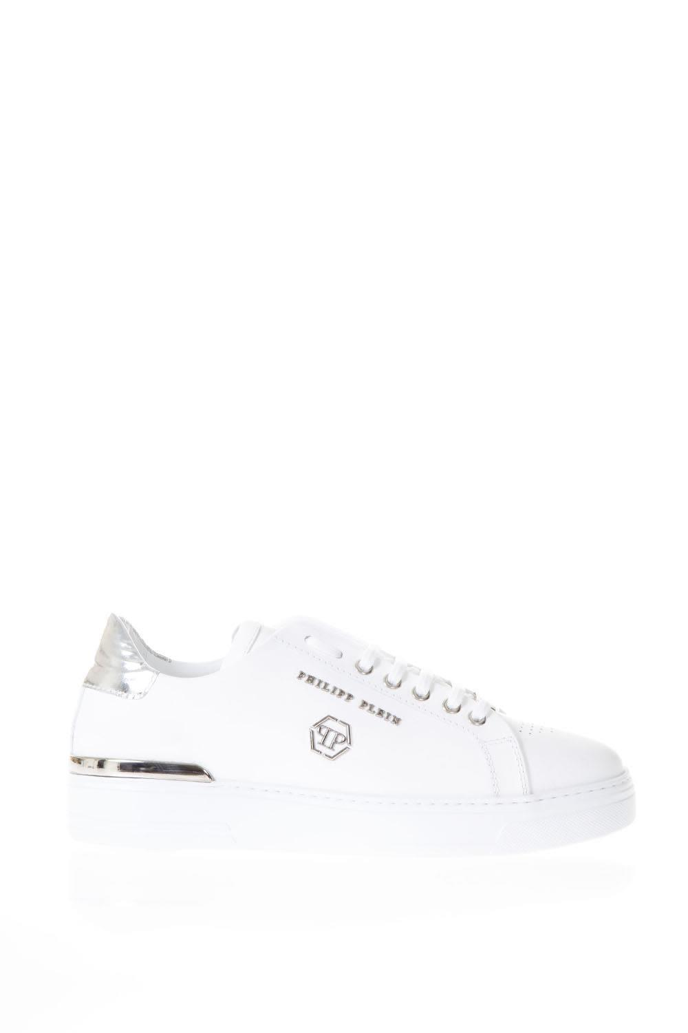 Philipp Plein White Leather Sneakers With Pp Logo
