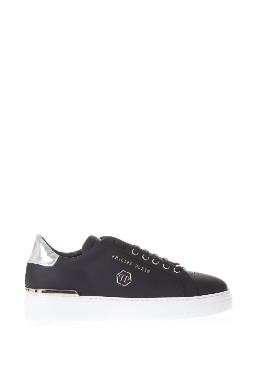 Philipp Plein Black Leather Sneakers With Pp Logo