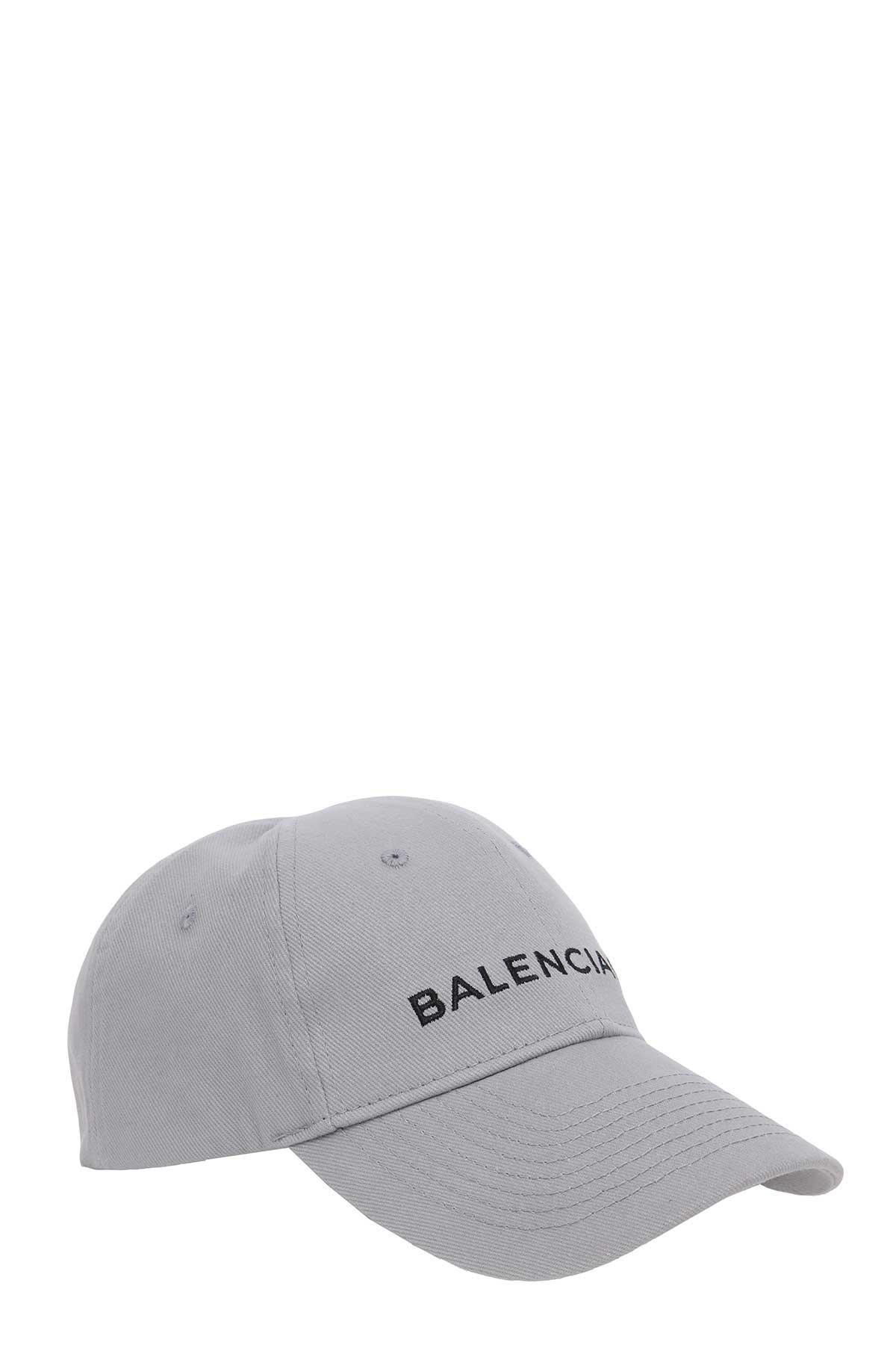 Balenciaga Grey Cotton Hat In Grigio