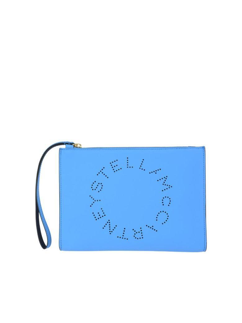 Stella Mccartney Stella Logo Clutch In Topaz Blue