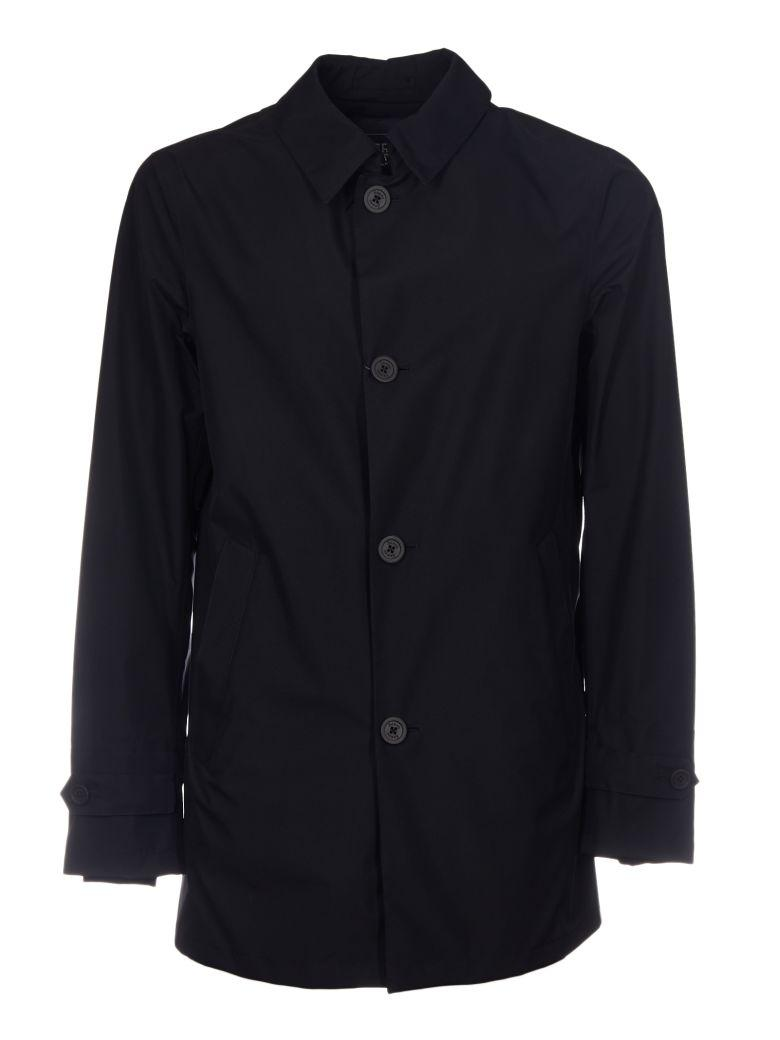 Herno Classic Buttoned Coat In Blu
